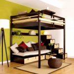 Lit mezzanine superposé est adapté pour dormir à l'étage et se détendre sur le premier niveau