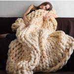 Grand plaid tricoté doux et énorme