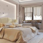 Lit élégant et un canapé près de la fenêtre pour une chambre moderne
