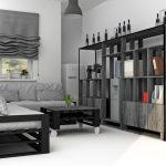Strict canapé gris-noir et une table de déchets