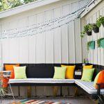 Canapé pliant extérieur avec coussins lumineux