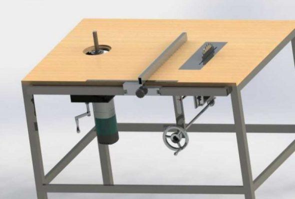 Option de table avec mécanisme de levage