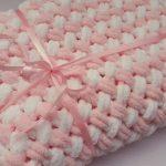 Plaid doux blanc-rose