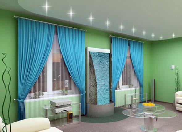 Tirai Biru Gunakan Di Pedalaman Ruang Tamu Bilik Tidur Dewan