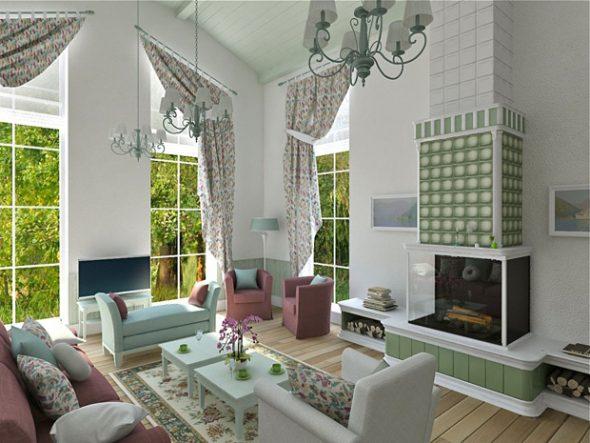 Decoratieve kussens in het land van de woonkamer