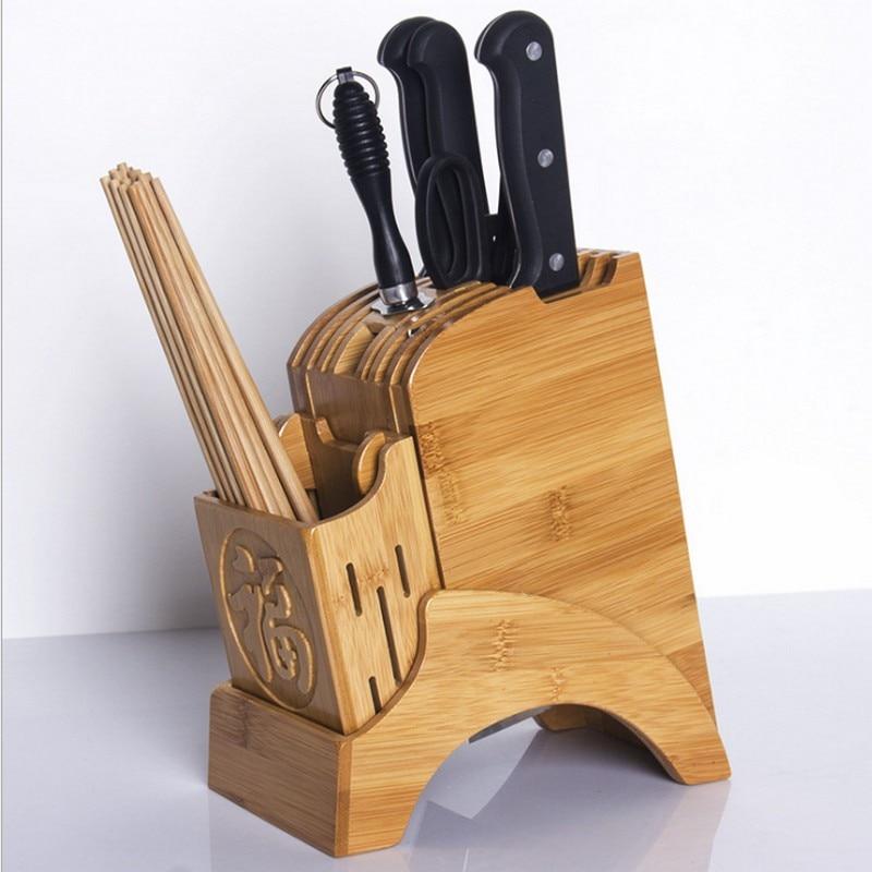 staan voor messen gemaakt van hout