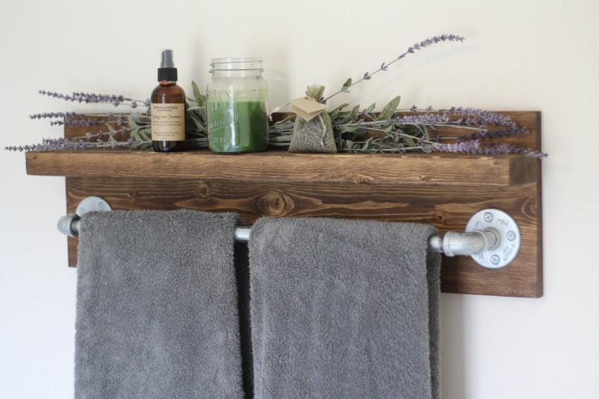 houten handdoekenrek