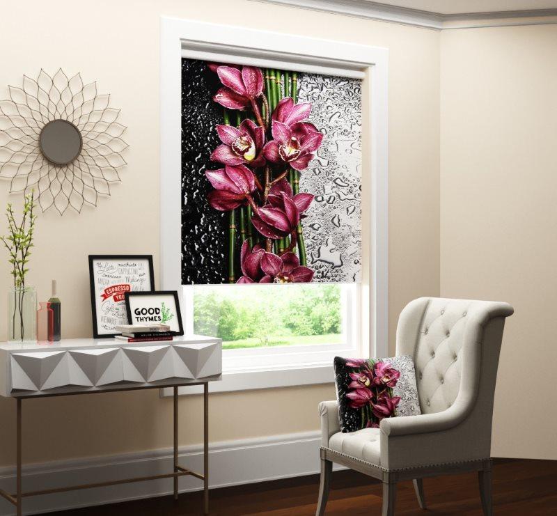 Store enrouleur avec impression photo à l'intérieur de l'ouverture de la fenêtre
