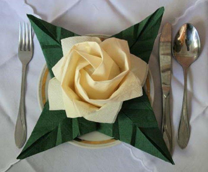 origami servetten rozen