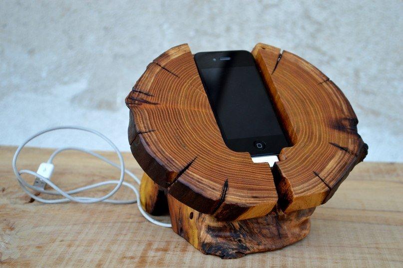 houten telefoonhouder