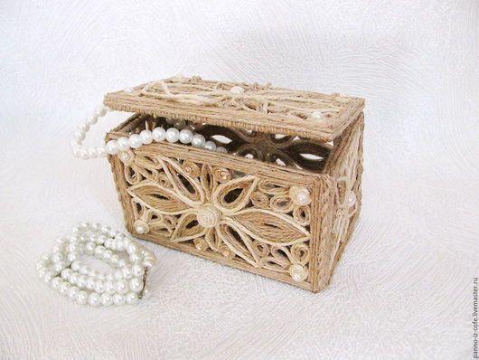 Boîte à bijoux en jute avec vos propres mains en cadeau