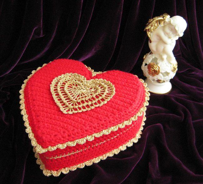 conception de décor de boîte de bijoux de crochet