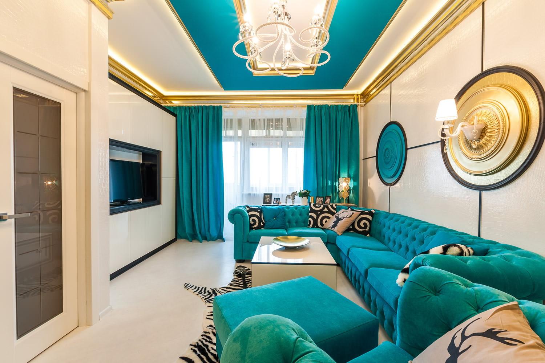 Langsir Turquoise Contoh Dan Gambar Di Pedalaman Ruang Tamu Bilik Tidur Dapur