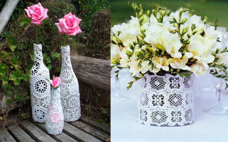 décor de vase en dentelle