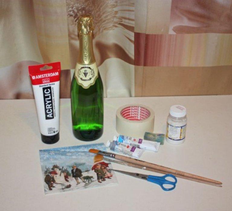 decoupage bouteilles photo decoration
