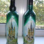 decoupage bouteilles de vin DIY photo decor