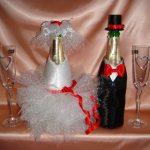 décoration de bouteilles de champagne pour une photo de mariage