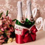 décoration de bouteilles de champagne pour la décoration photo de mariage