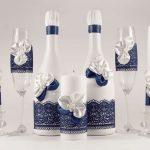 décoration de bouteilles de champagne pour un design photo de mariage