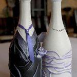 décorer des bouteilles de champagne pour des idées de mariage