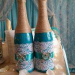 décorer des bouteilles de champagne pour des idées de décoration de mariage