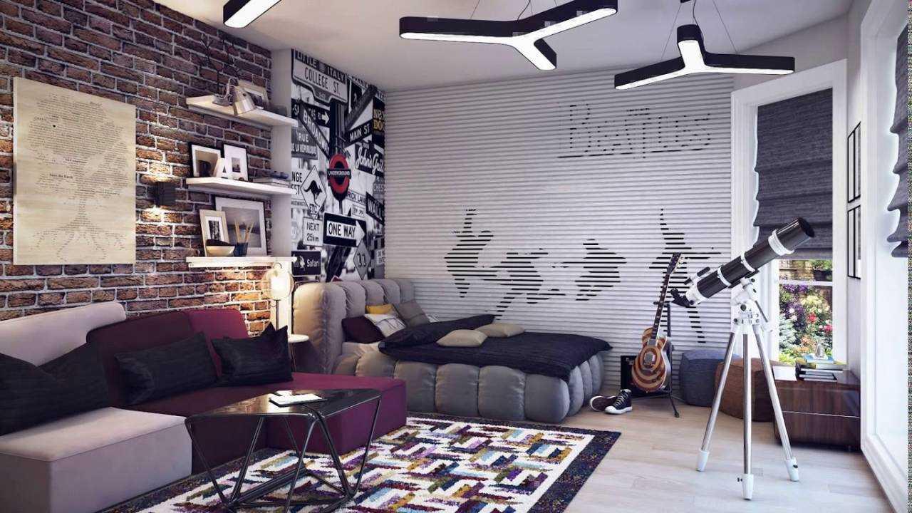 rideaux dans la salle d'un thème rock adolescent garçon