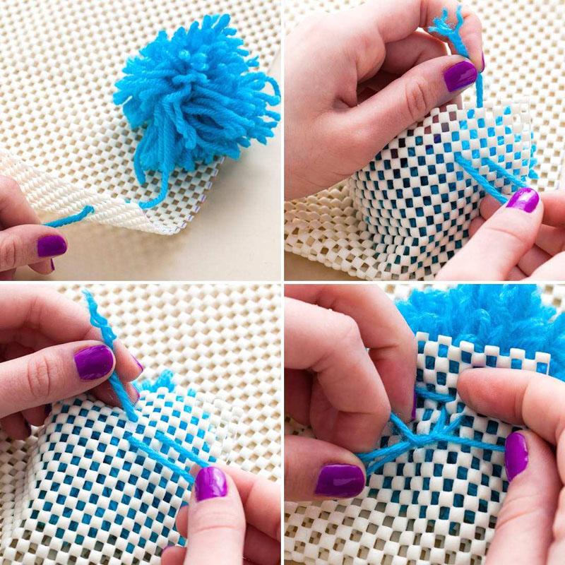 tapis fait de pompons faites-le vous-même