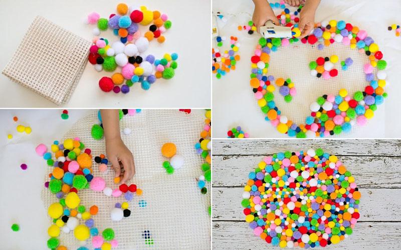 tapis fait de pompons idées de bricolage
