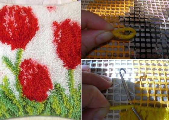 technique de broderie de tapis noués
