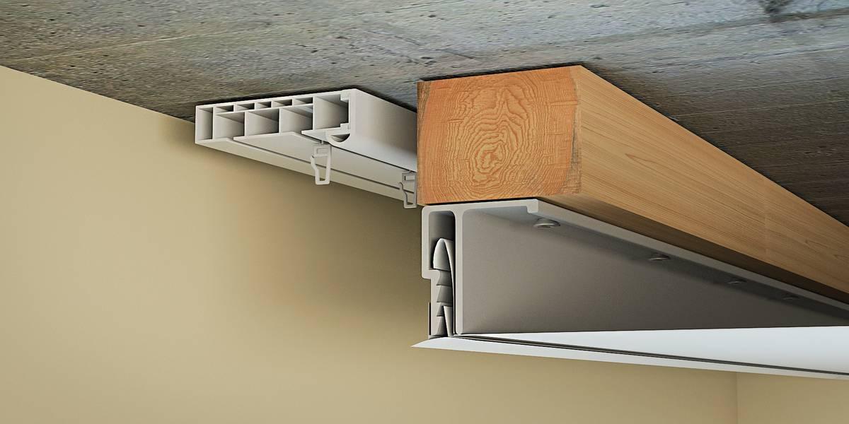 niche pour rideaux dans le plafond tendu photo intérieure