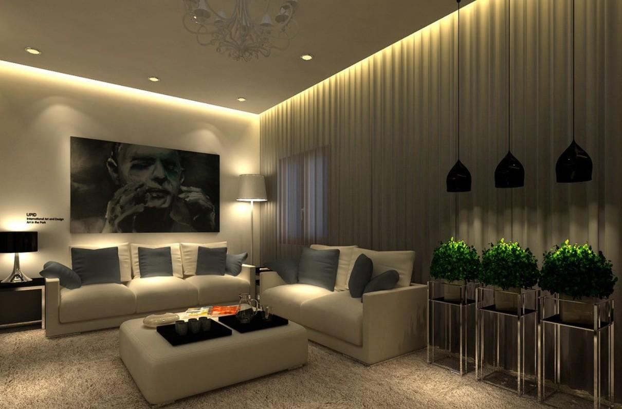 rideau d'éclairage sur un faux plafond
