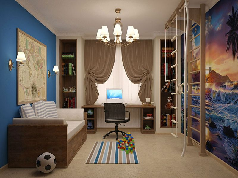 rideaux dans la chambre d'un dessin de garçon adolescent