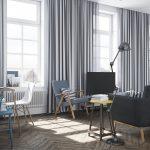 rideaux sur le ruban de rideau de style scandinave