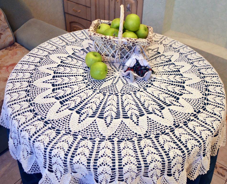 décoration photo nappe au crochet