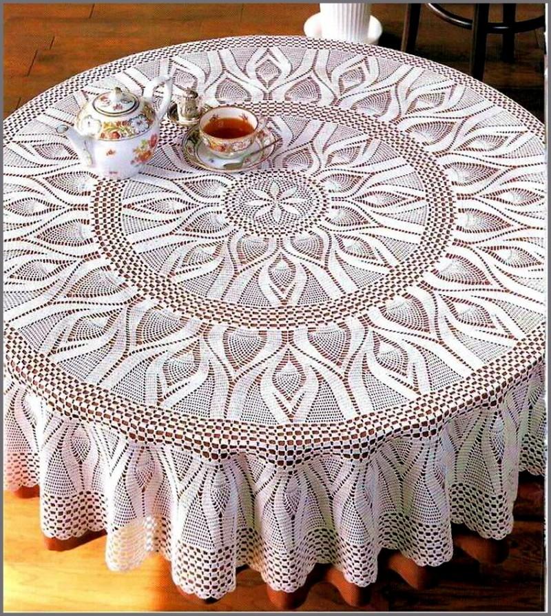 photo de décor de nappe au crochet